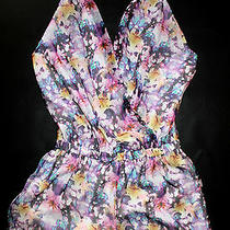 Nwt Bebe Floral Wrap Multi Color Halter Top Dress Romper Shorts Sheer M Medium Photo