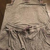 Nwt Bebe Grey With Rhinestone Logo Pajama Set Extra Large Photo