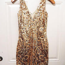 Nwt Bebe Hot Gold Sequin Double v Neck Sexy Bodycon Skirt Top Dress S Small Hot Photo