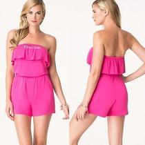 Nwt Bebe Hot Pink Crystal Logo Strapless Ruffle Top Dress Romper Fits Xxs Xs Photo