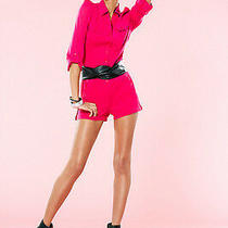 Nwt Bebe Hot Pink Sexy Trim Waist 3/4 Sleeve Shorts Romper Jumpsuit Xs 0 2 Club Photo