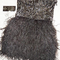 Nwt Bebe Isis Dress Black Gold Sequin Feather Strapless Skirt Top S Small Unique Photo
