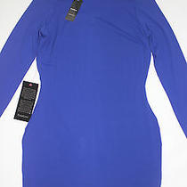 Nwt Bebe Long Sleeve Purple Blue Bodycon Cocktail Party Top Dress L Large Sexy Photo