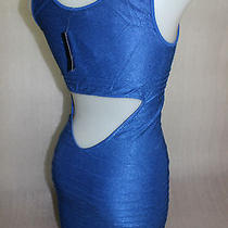 Nwt Bebe M L Blue 6 8 10  Back Cutout Shine Bodycon Top Dress Party Clubbing Photo