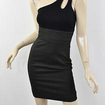 Nwt Bebe One-Shoulder Keyhole Fitted Waist Hourglass Pinstripe Pencil Dress 0 Xs Photo