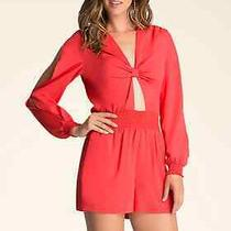 Nwt Bebe Red Cutout Long Sleeve v Neck Shtretchy Dress Top Romper Xs Xxs 0 Sexy Photo