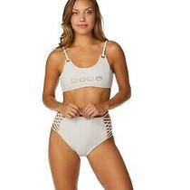 Nwt Bebe Rhinestones Logo Bikini 2 Piece Bathing Suit Sand Color Size M Photo
