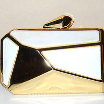 Nwt Bebe Risin Art Deco Clutch Gold/white Photo