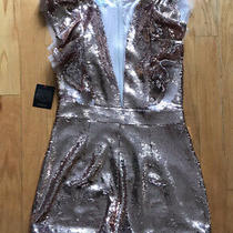 Nwt Bebe Rose Gold Ruffle Sleeve Sequin Romper Size 10 With Mesh Accents Photo