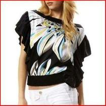 Nwt Bebe Size L Large Passion Flower Flutter Sleeve Blouse Top Shirt Rare Photo
