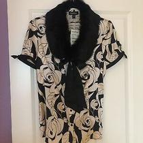 Nwt Bebe Size Large Blouse Top Shirt Pink Black Fur Collar Silk Roses Gorgeous Photo