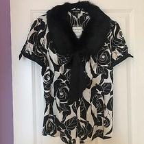 Nwt Bebe Size Large Blouse Top Shirt White Black Fur Collar Silk Roses Gorgeous Photo