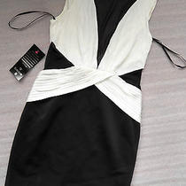 Nwt Bebe Top Dress White Black Mesh See Through Cutout Contrast Bodycon Large L Photo