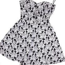 Nwt Bebe White Black White Lace Strapless Bustier Corset Flare Top Dress S Small Photo