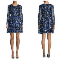 Nwt Belle Badgley Mischka Blue and Black Floral Lace Embroidered Dress 8  229 Photo