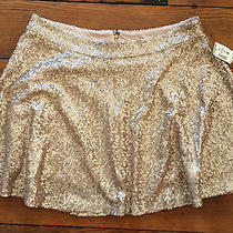 Nwt Bethany Mota Rose Gold Sequin Skater Skirt Large Mini Flare Satin Lining 34 Photo
