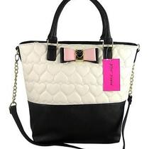 Nwt Betsey Johnson Be My Honey Buns Tote Bm17090 Quilted Hearts Blush Bow 98 Photo