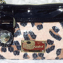 Nwt Betsey Johnson Blushing Cheetah Double Pocket Wristlet Sequin Bb15520 Photo