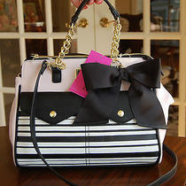 Nwt Betsey Johnson Double Pkt Pocket Triple Compartment Satchel Blush Pink Black Photo