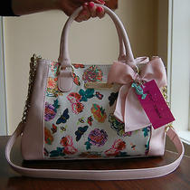 Nwt Betsey Johnson Floral Satchel Floral Butterfly Bee Blush Pink  Photo