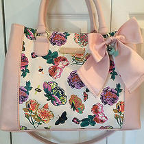 Nwt Betsey Johnson Floral Satchel Floral Butterfly Bee Blush Pink One Day Sale Photo