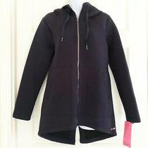 Nwt Betsey Johnson Knit Bonded Jacket Anorak Hoodie Athleisure Navy Sz M Msrp98 Photo