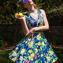 Nwt Betsey Johnson Lemon Print Fit N Flare Pinup Dress Size 8 Photo