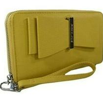 Nwt Betsey Johnson Logo Wristlet Zip Around Purse Hand Bag Wallet Mustard Photo