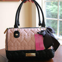 Nwt Betsey Johnson Quilted Heart Be Mine Bow Speedy Satchel Blush (Light Pink)  Photo