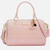 Nwt Betsey Johnson Quilted Lips Barrel Satchel Blush Pink Photo