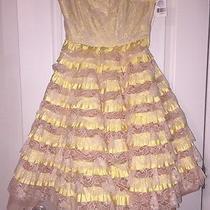 Nwt Betsey Johnson Runway Collection Blush & Yellow Ruffle Tea Party Dress Sz 4 Photo