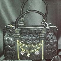 Nwt Betsey Johnson  Satchel High Sequency Black Beautiful Bag 128 Photo