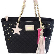 Nwt Betsey Johnson Star Studded Quilted Tassel Black Blush Pink Tote Bag Purse Photo