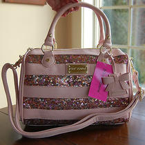 Nwt Betsey Johnson Stripe Sequin Satchel Blush Pink Bg70105 Photo