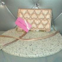 Nwt Betsey Johnson Wallet on a String Be Mine Bone Rose Gold Photo