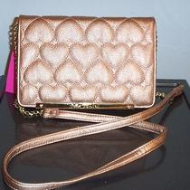 Nwt Betsey Johnson Wallet on a String  Be Mine Rose Gold    Cute Photo
