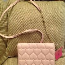 Nwt Betsey Johnson Wallet on a String Crossbody Be Mine Hearts Pink Blush Gold Photo