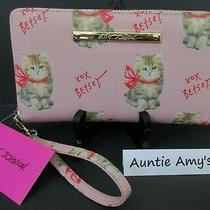Nwt Betsey Johnson Wallet/wristlet Z/a Blush Pinkkitty Catspink Bows Bs502160 Photo