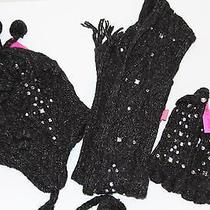 Nwt Betsey Johnson Woman's Scarf Texting Gloves and Beanie Black With Crystals Photo