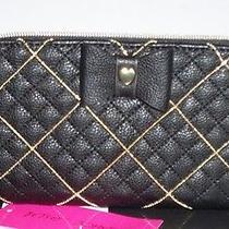 Nwt Betsey Johnson  Zip Around Wallet Shot Beads Black     Photo