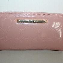 Nwt Betsey Johnson  Zip Around Wallet W Wristlet Strap Xozip Blush Patent Heart Photo