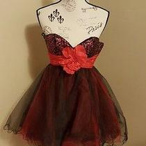 Nwt Bg Haute Homecoming Formal Dress Size S (2) Red & Black Short Tulle Sequence Photo