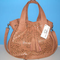 Nwt Big Buddha Blush Tan Cut Out  W/metallic Underlay Tote Bag Purse Crossbody Photo