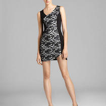 Nwt Black Halo Harper Coated Lace Panel Mini Dress 10 390 Black Snow Stretch Photo