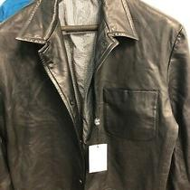 Nwt  Black Leather Lamb Skin Very Soft  Blazer/sport Coat Jackets  Size 40 Reg Photo