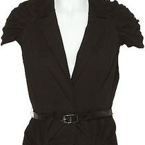 Nwt Black Ruched Puff Sleeve Blazer Top Vest  W/ Removable  Belt Size Large Photo