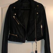 Nwt Blank Nyc Small Black Faux Leather Moto Jacket Rose Gold Hardware Photo