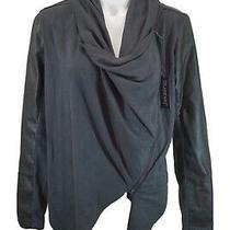 Nwt Blank Nyc Women Black Gray Faux Leather Knit Asymmetrical Moto Jacket Sz M Photo