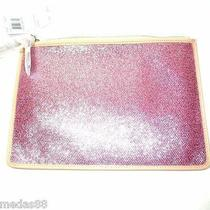 Nwt Bleecker Metallic Crackle Canvas Flat Zip Case Coach F51397 Photo