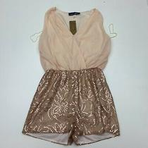Nwt Blue Rain Romper Womens Size Medium Blush Rose Gold Sequins Photo
